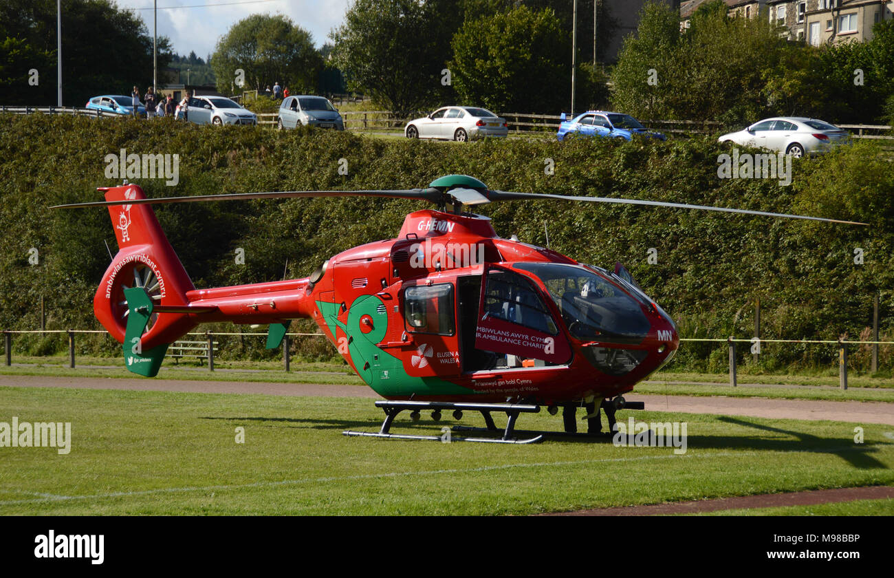 An Airbus helicopter of the Wales Air Ambulance service on the ground during an emergency mission Stock Photo