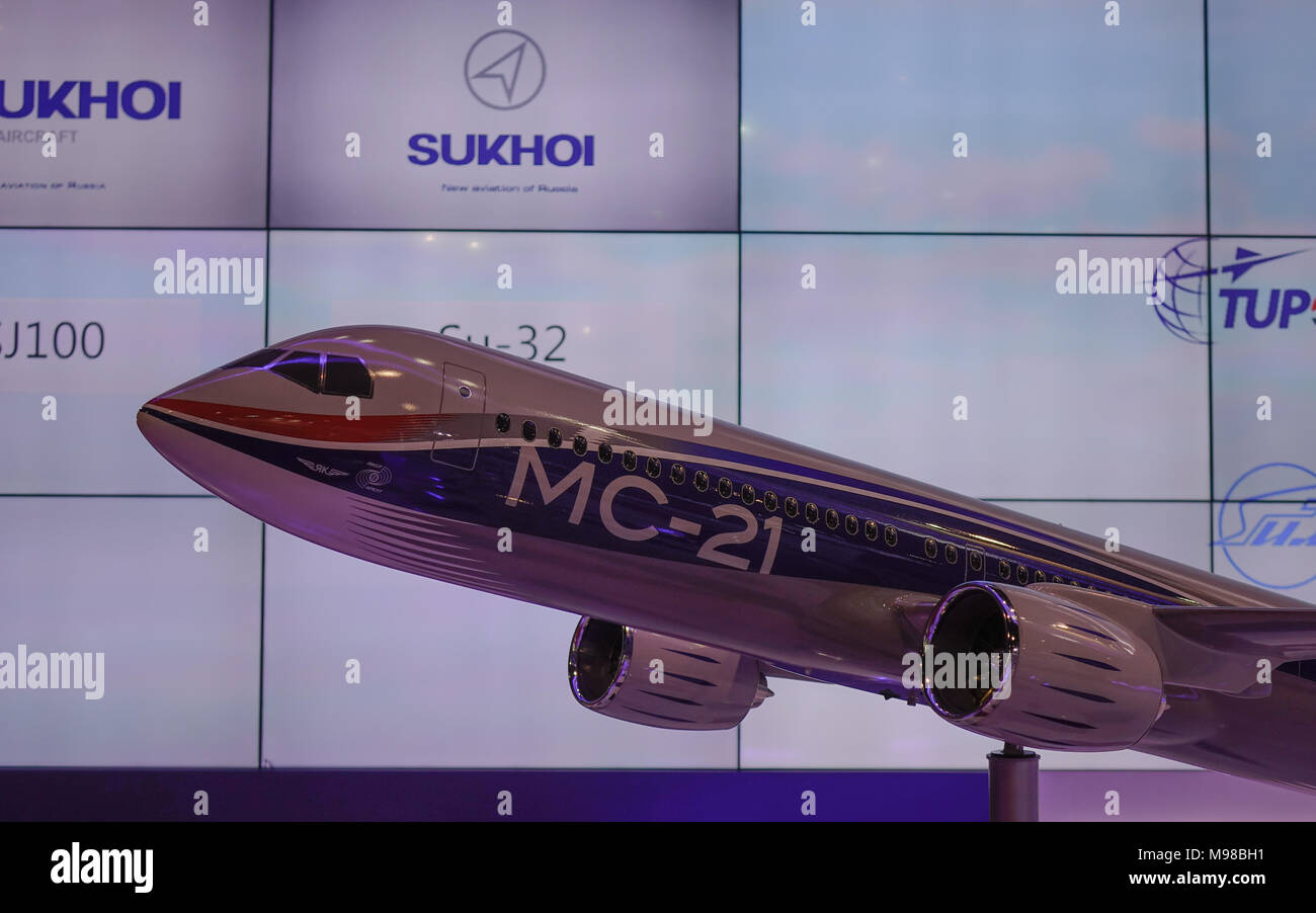 Singapore - Feb 11, 2018. An Irkut MC-21 airliner on display in Changi, Singapore. - Stock Image