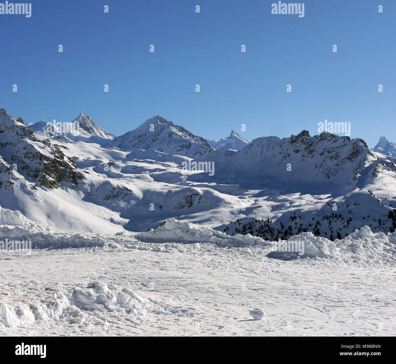 The swiss ski and snow-sport linked resort of St Luc and Chandolin in the Valais region of Switzerland Stock Photo
