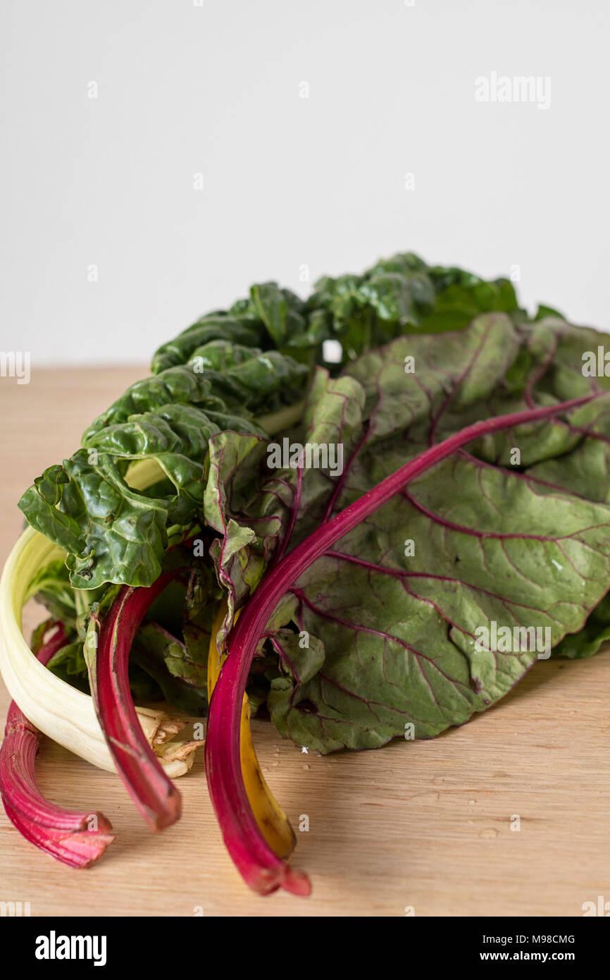 Rainbow Chard Stalks Ready for Salad Ingredients - Stock Image