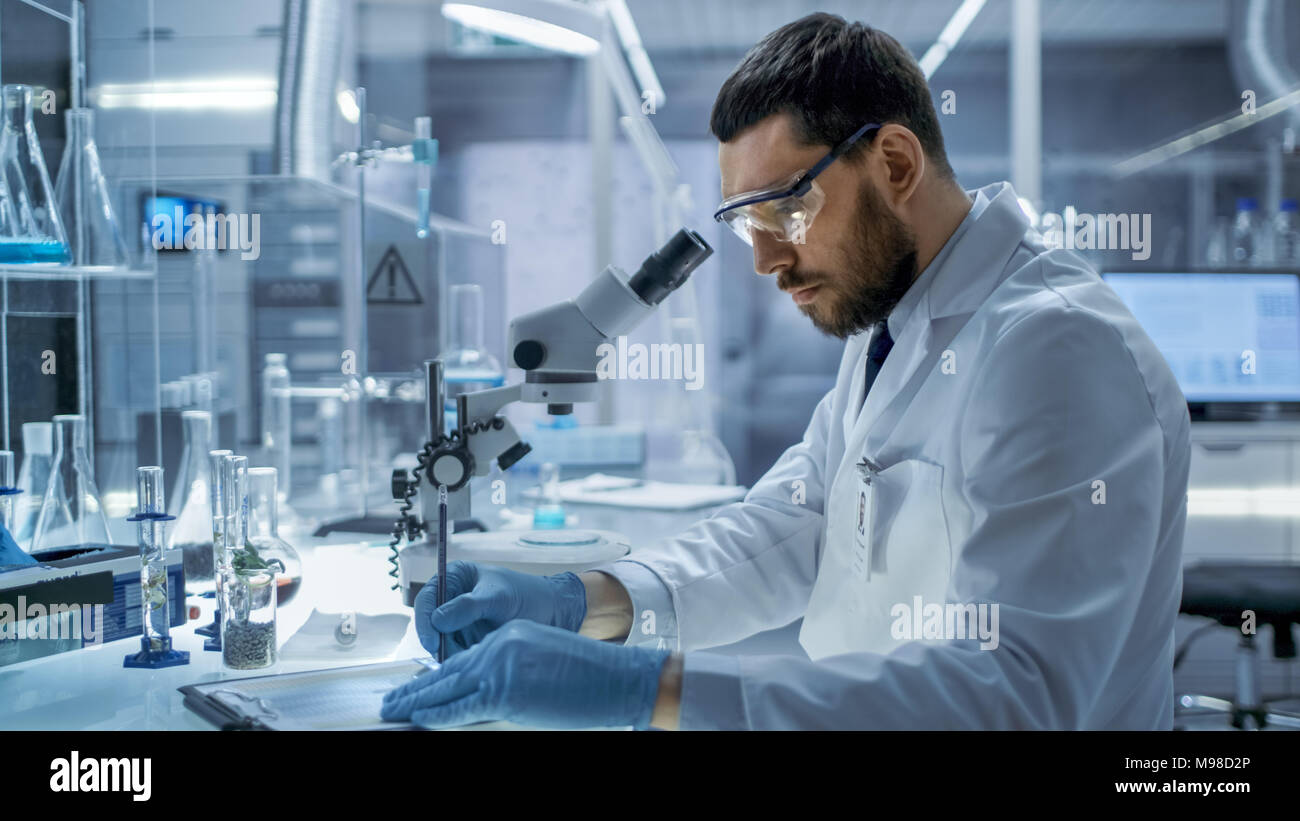 In a Modern Laboaratory Research Scientist Writes Down His Experiment Observations. - Stock Image