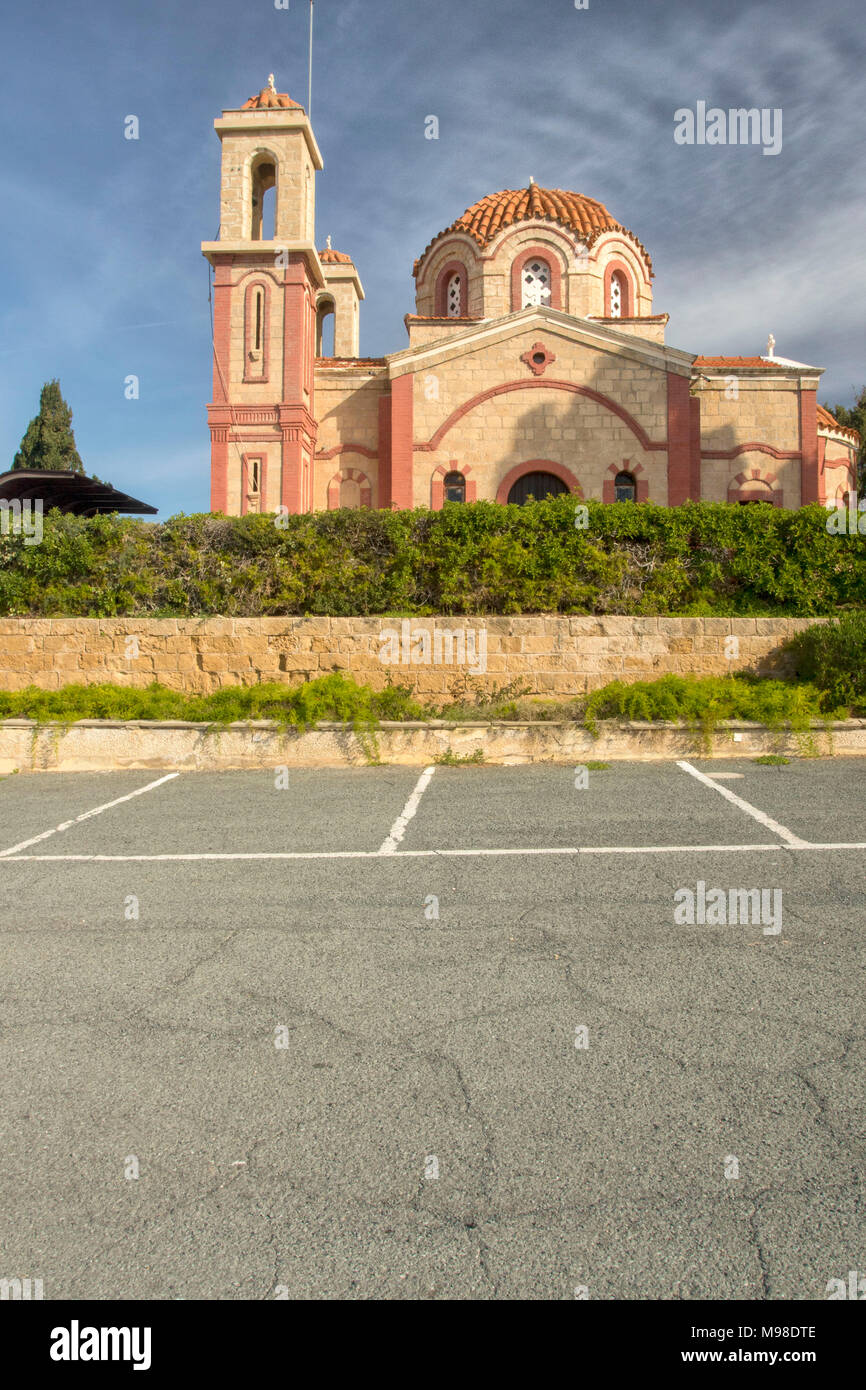 Church next to the Georgios Grivas memorial on the road to Coral Bay, Paphos, Cyprus, Mediterranean - Stock Image