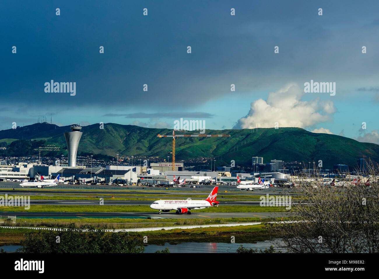 San Francisco International Airport with control tower Stock Photo