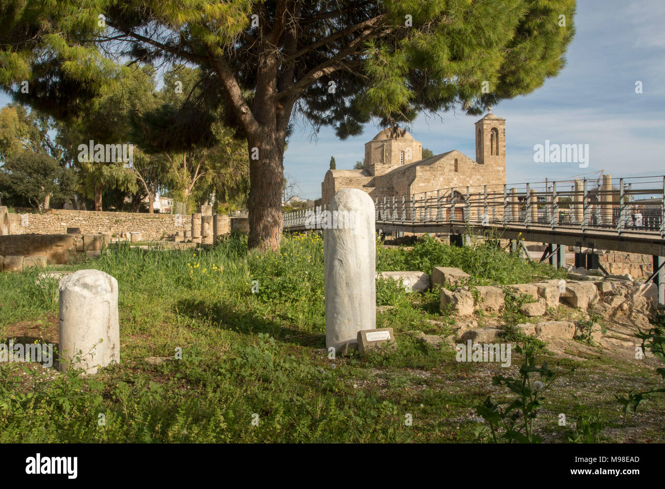 St Paul's Pillar Kato Pafos, Mediterranean religious holy site in paphos, cyprus, europe - Stock Image