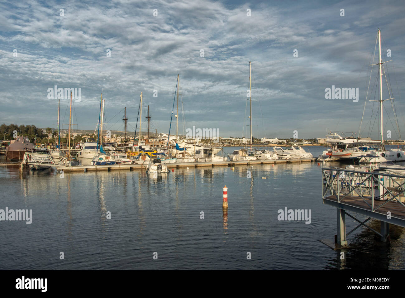 Boats moored in paphos harbour in the tourist area of paphos, kato paphos, cyprus, europe - Stock Image