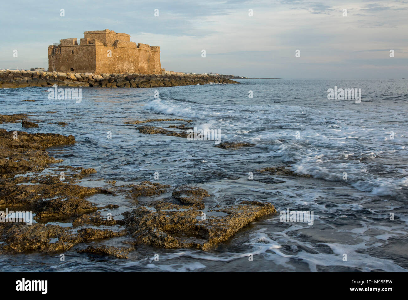 Paphos castle (fort)  in paphos harbour kato paphos, from the mediterranean coast of cyprus, paphos, europe - Stock Image