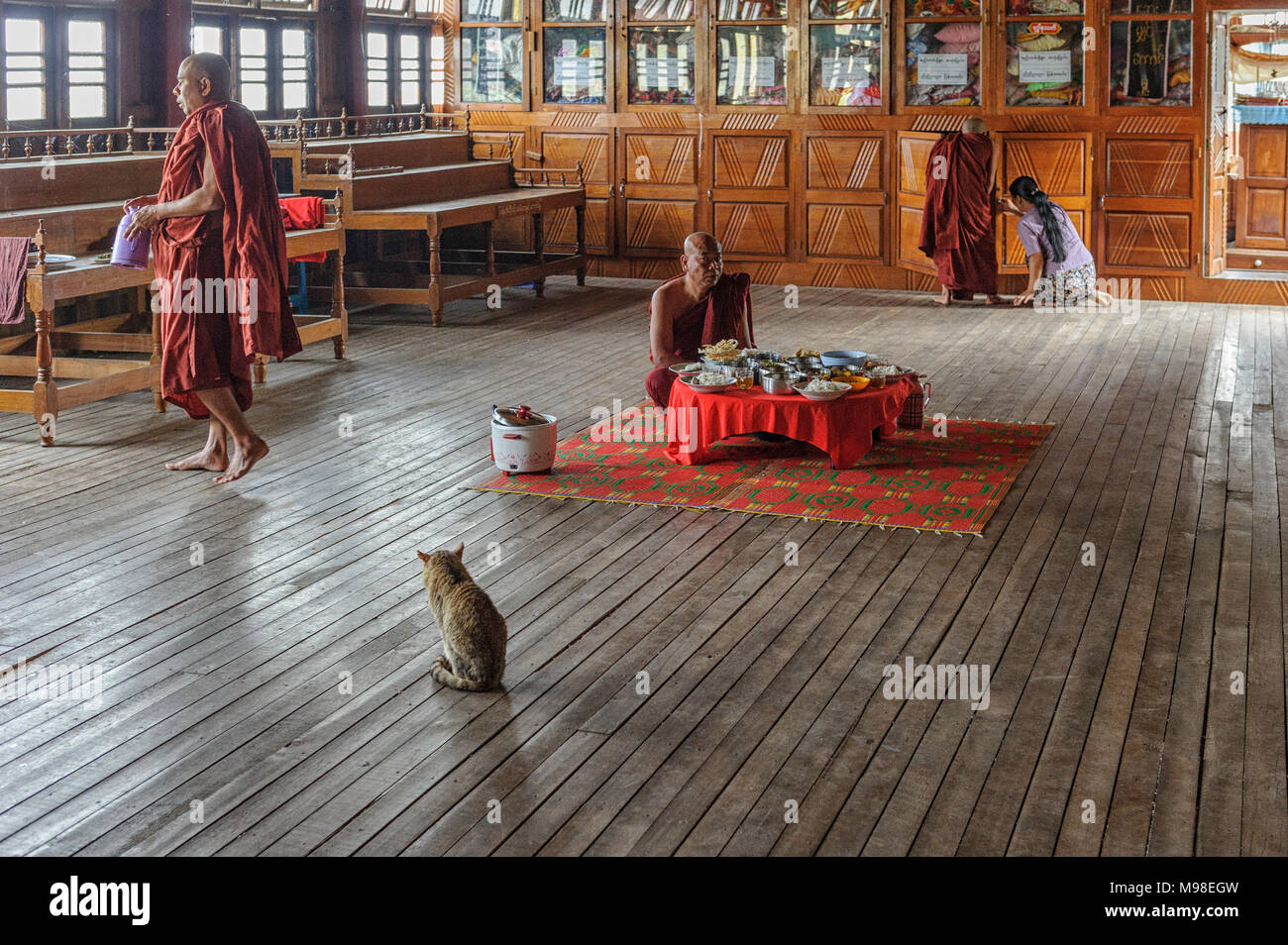 Mealtime at the Jumping Cat Monastery (Nga Hpe Chaung) Myanmar. Nga Hpe is a wooden monastery,  built on stilts on Inle Lake, just north of Ywama - Stock Image