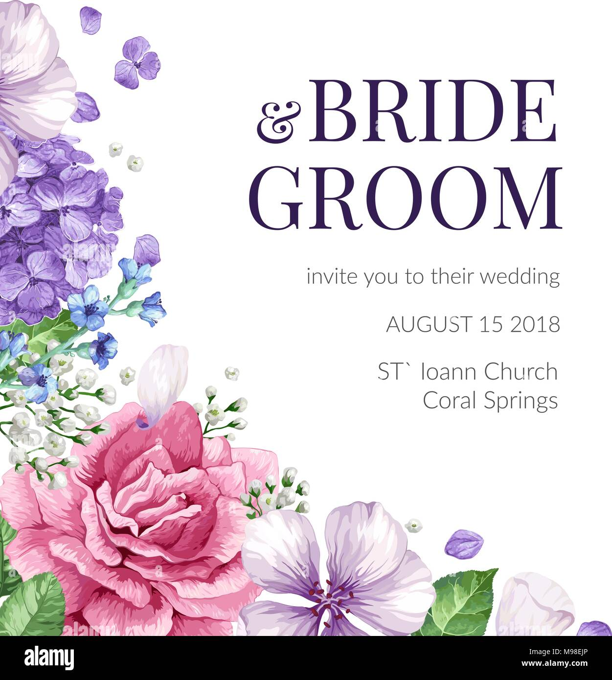Wedding Invitation card with flowers in watercolor style on white ...