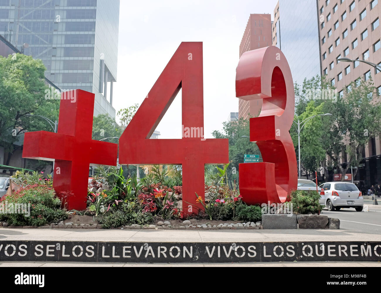 A large roadside monument titled 'Anti-Monumento +43' reminds people of the 43 college students who disappeared in September 2014 in Mexico. - Stock Image