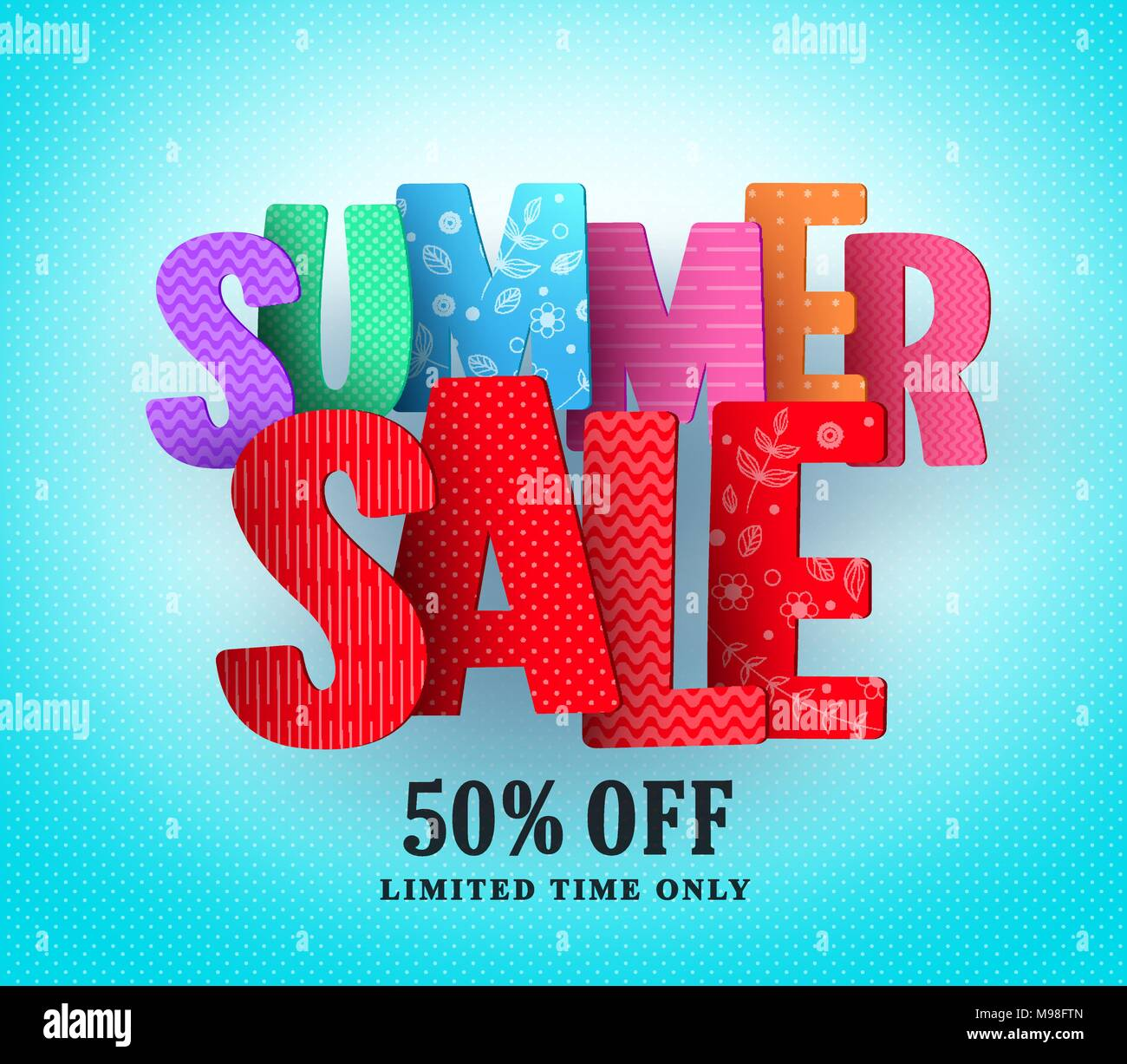 657a69b98 Summer sale vector banner design with colorful sale and discount text in  blue pattern background for summer seasonal discount promotion.