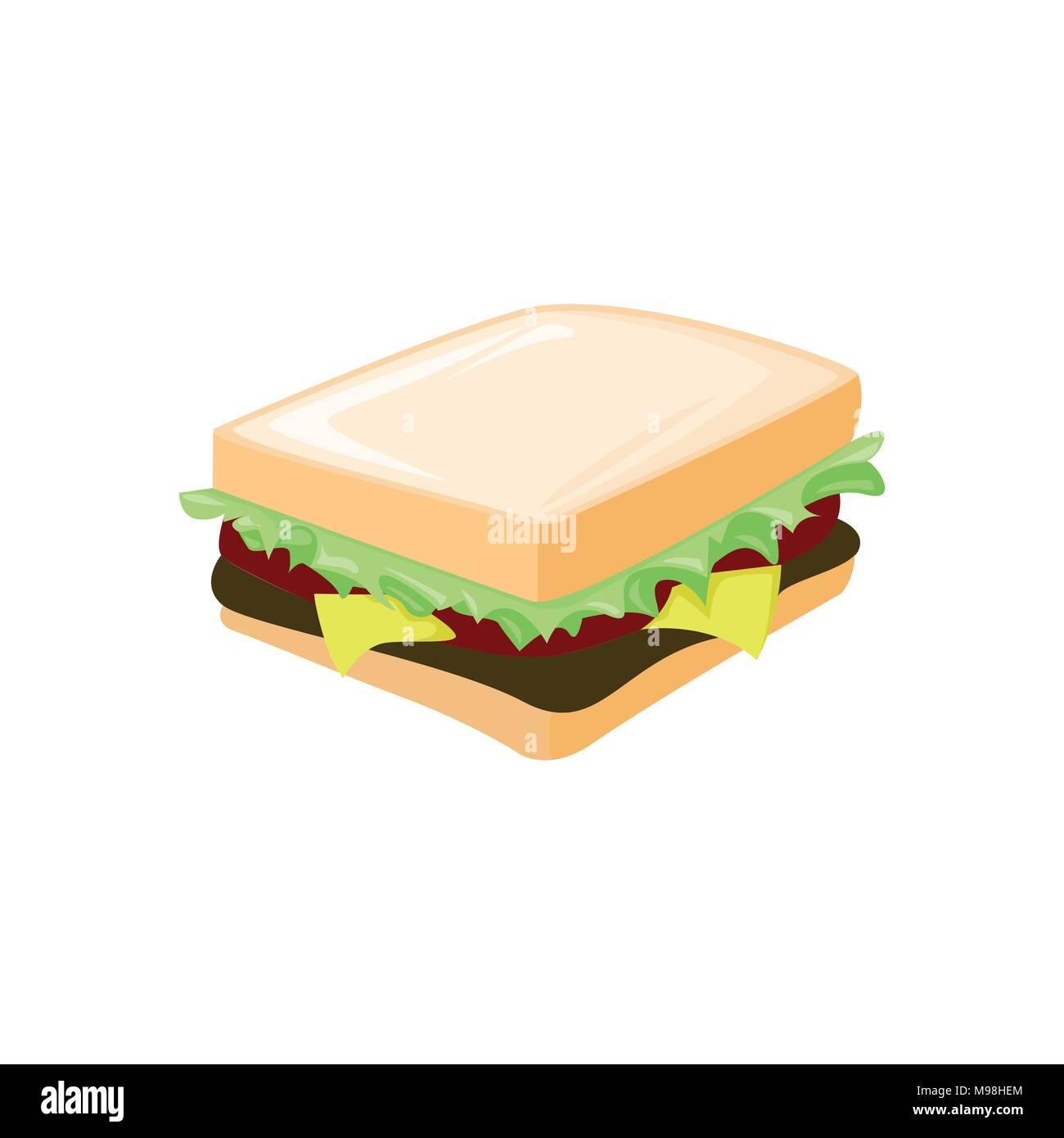 Fresh Sandwich Breakfast Food Cafe Vector Illustration Graphic Design - Stock Image