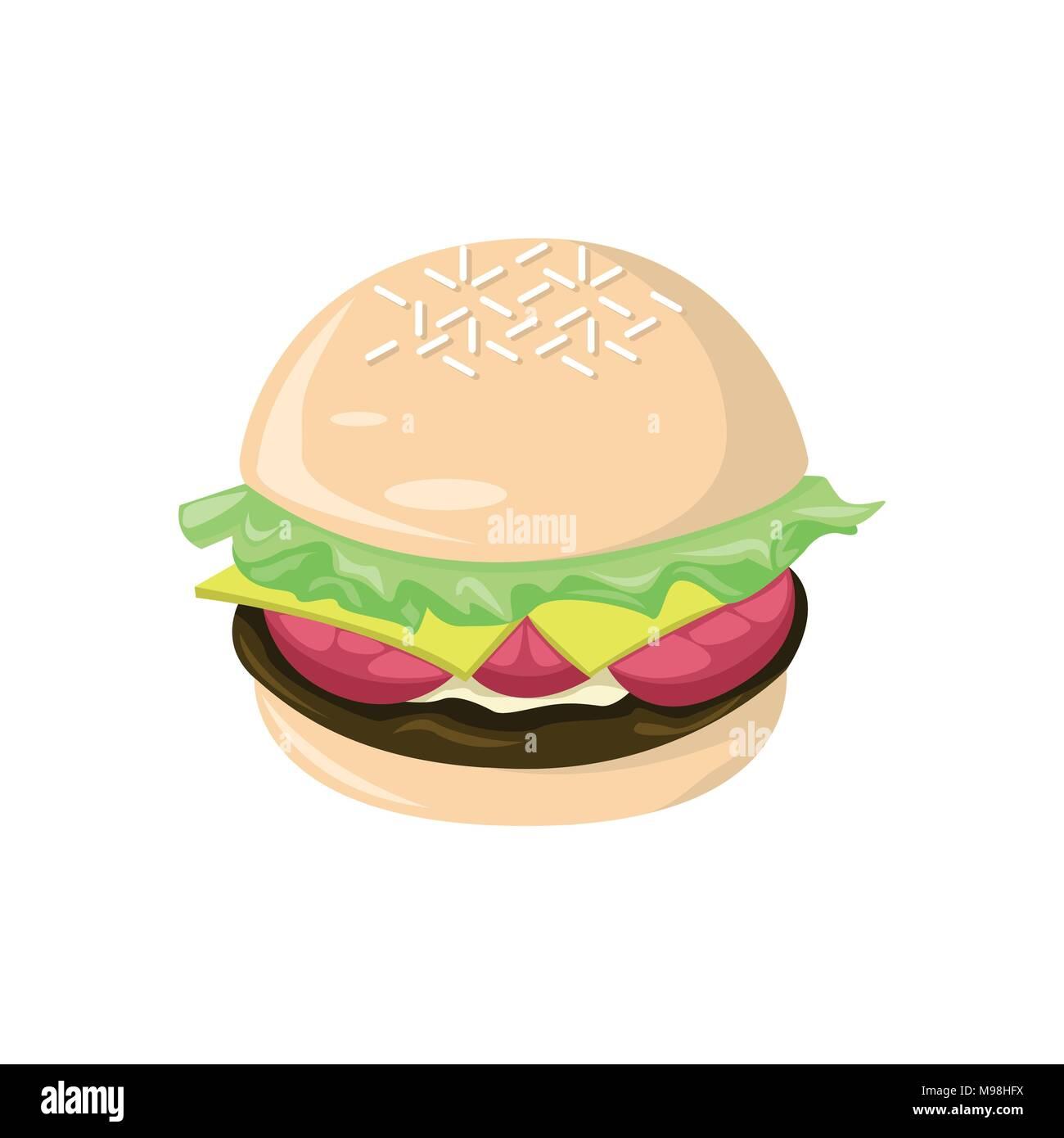 Fresh Big Burger Food Cafe Vector Illustration Graphic Design - Stock Image