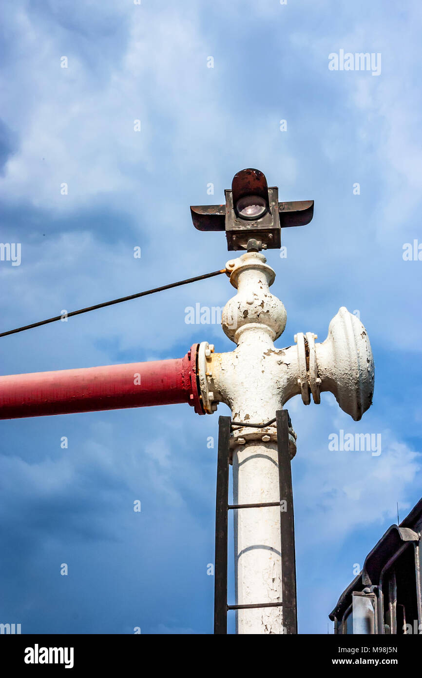 Old water crane for steam locomotives - Stock Image