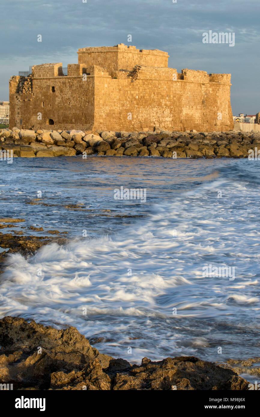 Paphos castle / fort in kato paphos harbour on the mediterranean coast of paphos, cyprus, mediterranean, europe - Stock Image