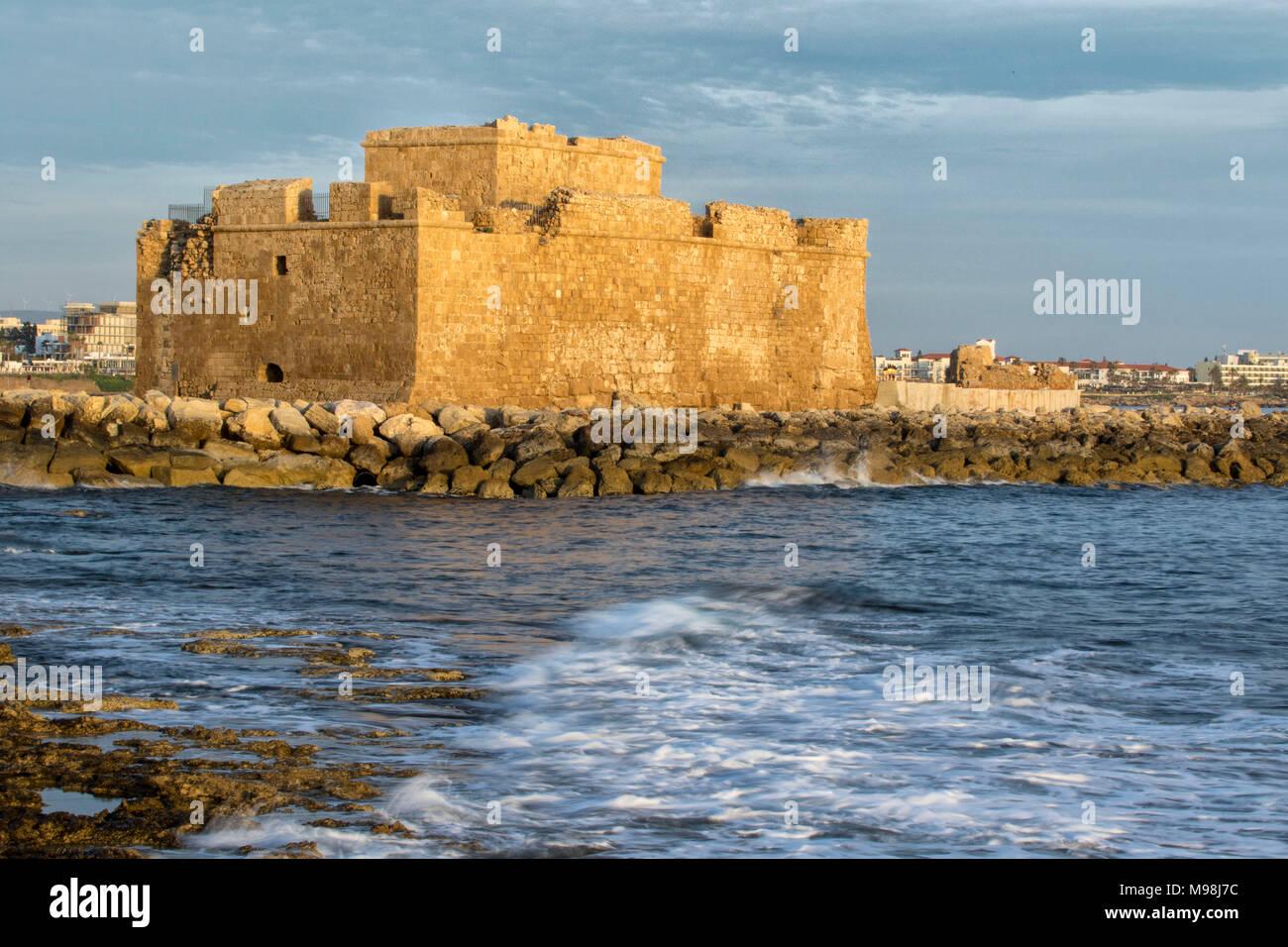 Paphos castle / fort in kato paphos harbour on the mediterranean coast of paphos, cyprus, mediterranean, europe Stock Photo
