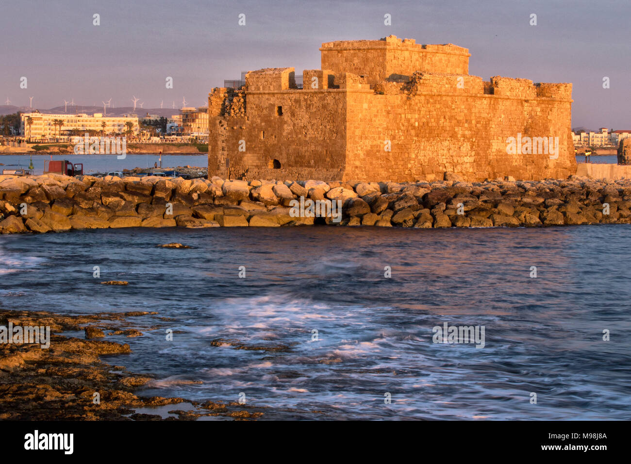 Paphos castle / fort in kato paphos harbour on the mediterranean coast of paphos, cyprus, mediterranean, europe - Stock Image