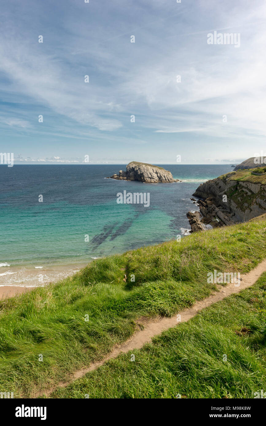 The beach of Arnia in Cantabria, Spain - Stock Image