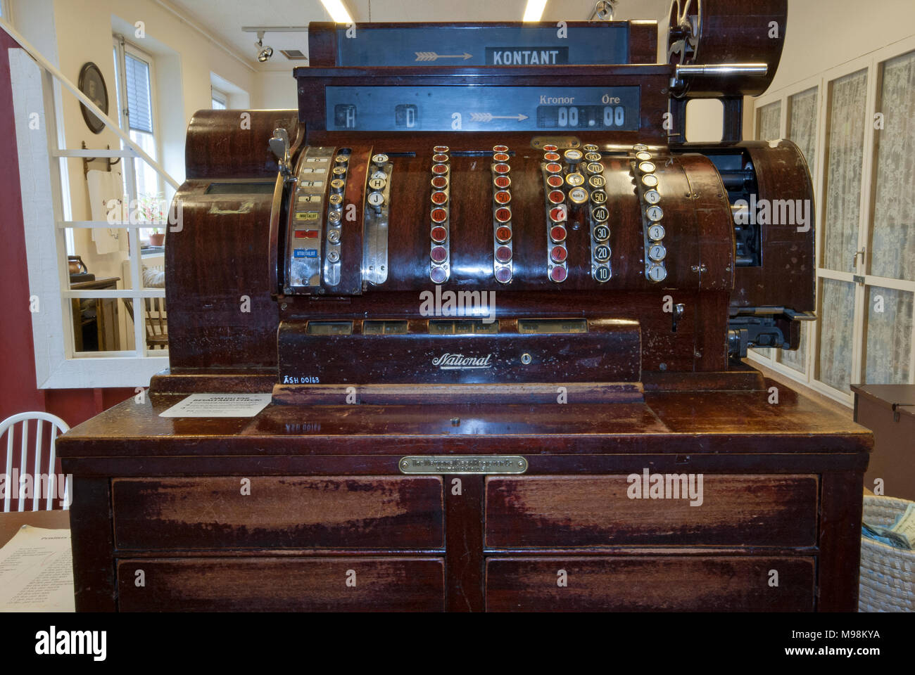 Old Wooden Cash Register National At Hagnan Museum In Gammelstad