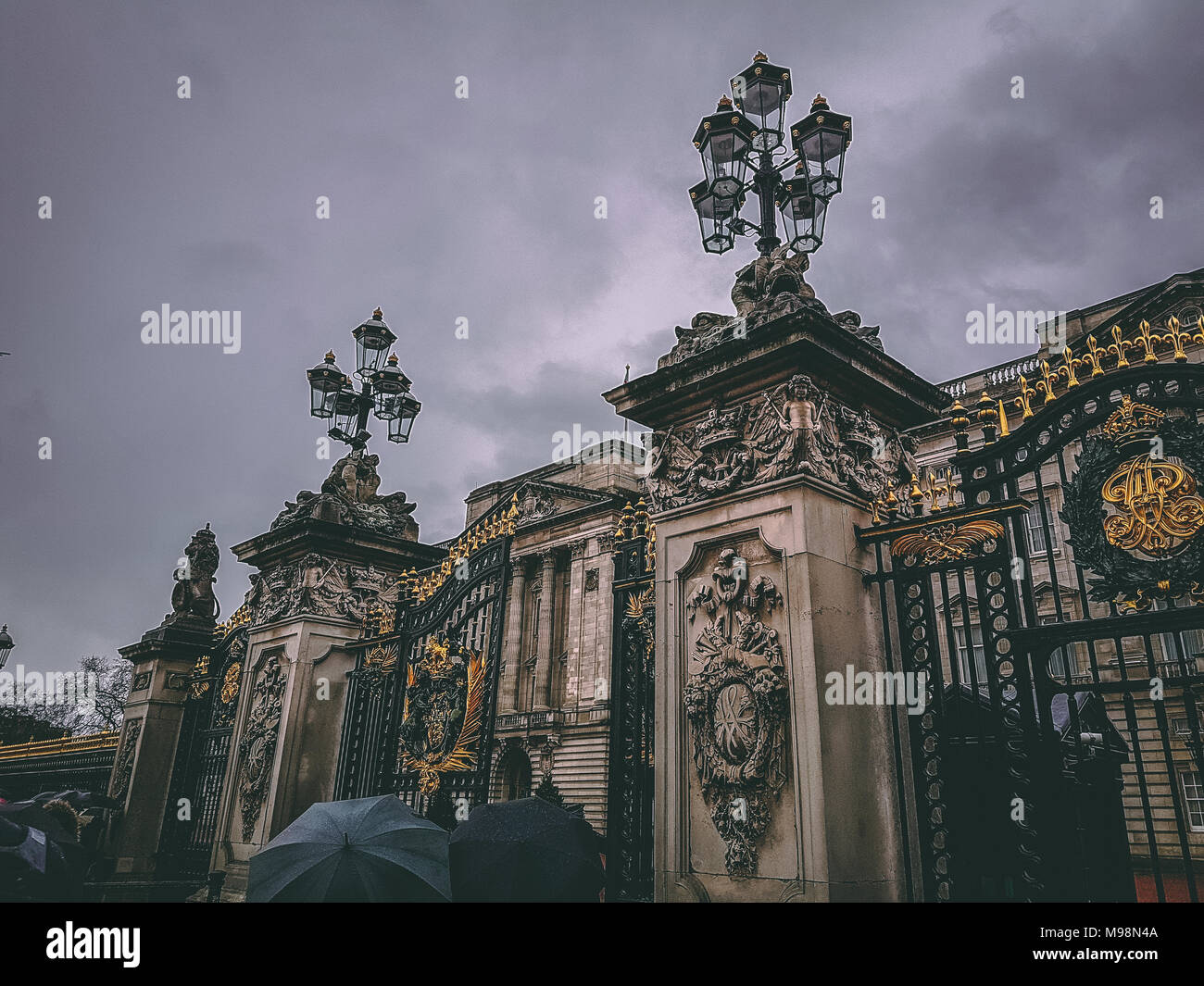 December 28th, 2017, London, England - gates of Buckingham Palace, the London residence and administrative headquarters of the monarch of the United K - Stock Image
