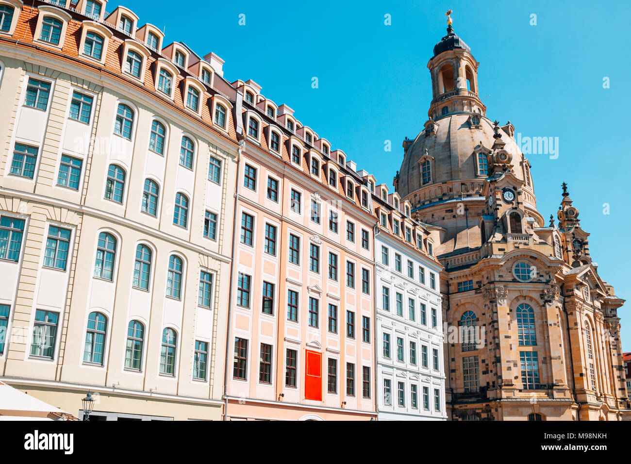 Frauenkirche church and european buildings in Dresden, Germany Stock Photo
