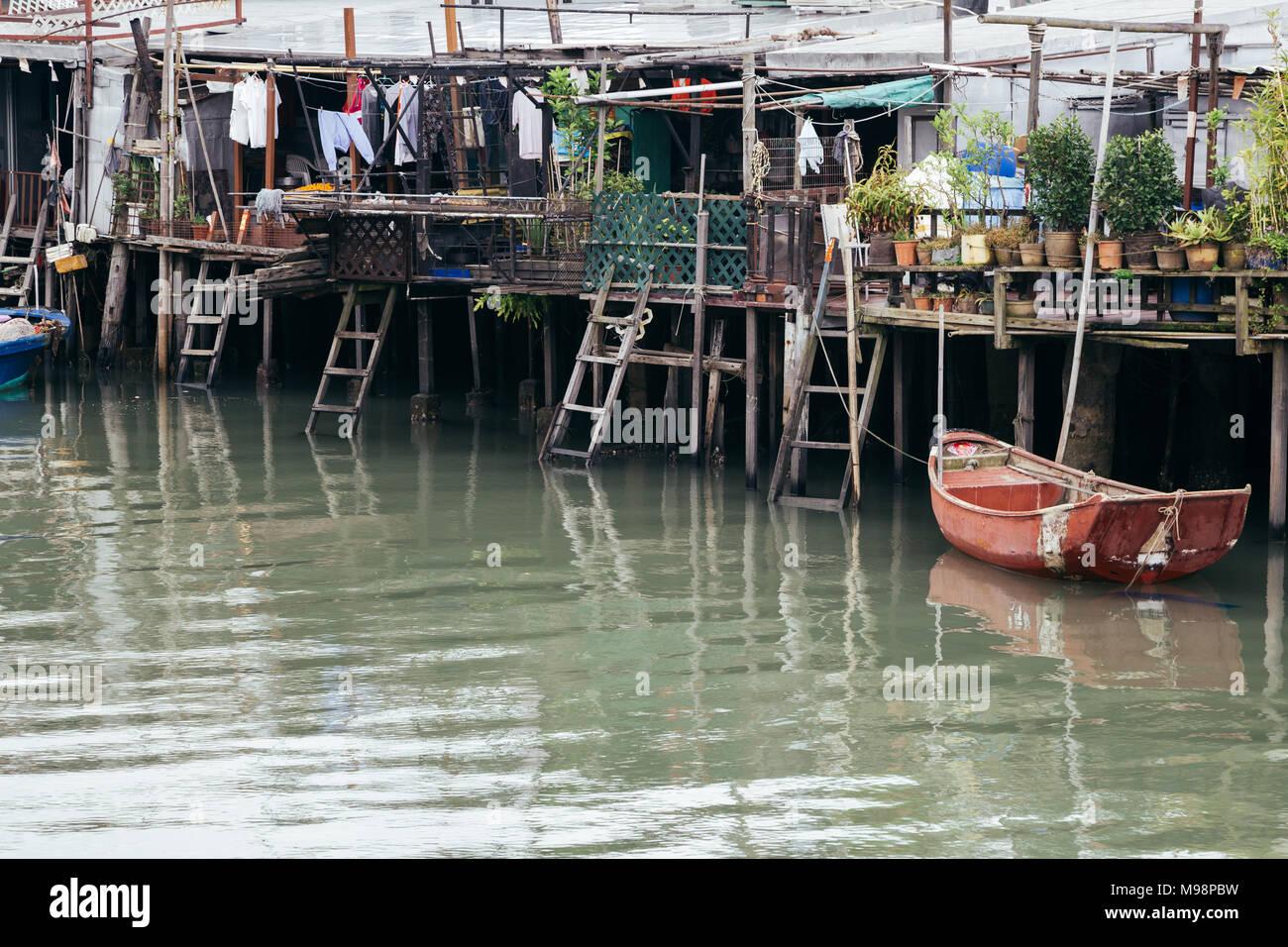 Tai o fishing village, Old floating house and sea in HongKong - Stock Image