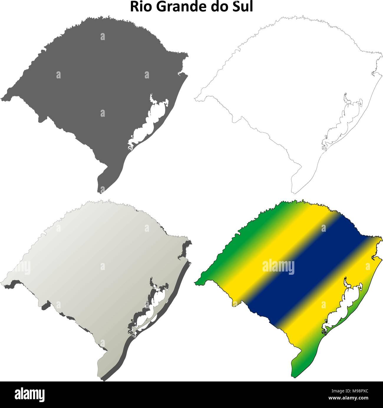 Rio Grande do Sul blank outline map set Stock Vector