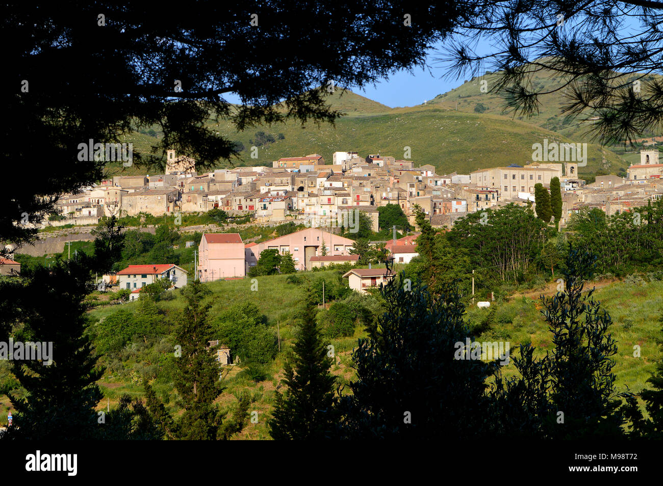Area View of an Ancient Village in the Sicani Mountains, Palazzo Adriano, Palermo, Sicily, Italy - Stock Image