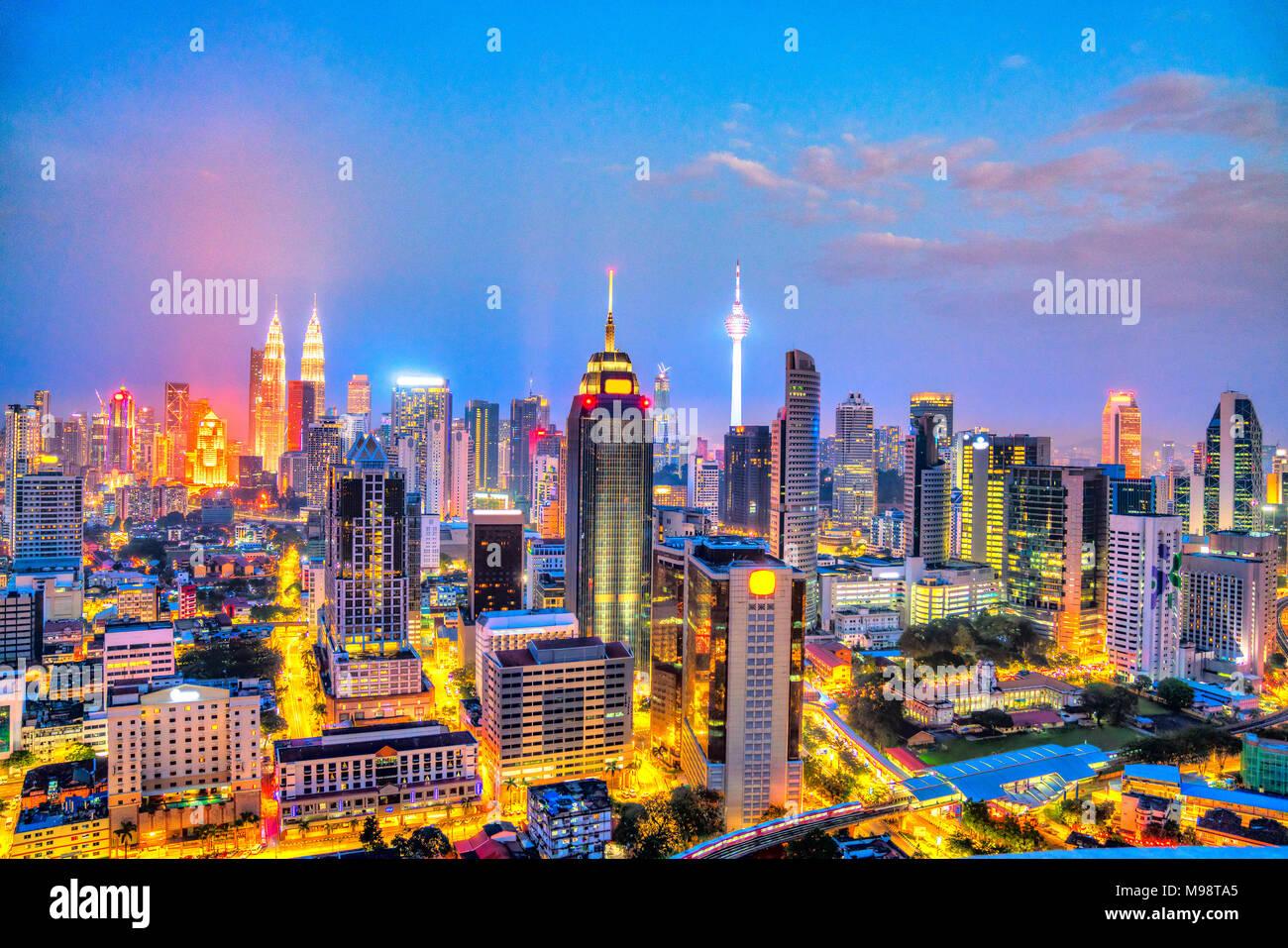 Kuala Lumpur, Malaysia. Night skyline aerial view. - Stock Image
