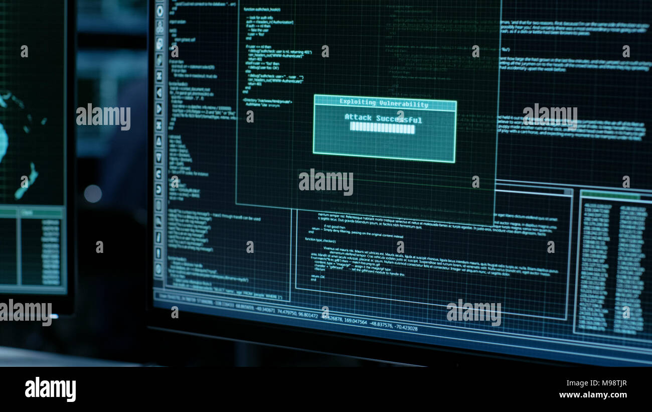 Display Showing Stages of Hacking in Progress: Exploiting Vulnerability, Executing and Granted Access. - Stock Image