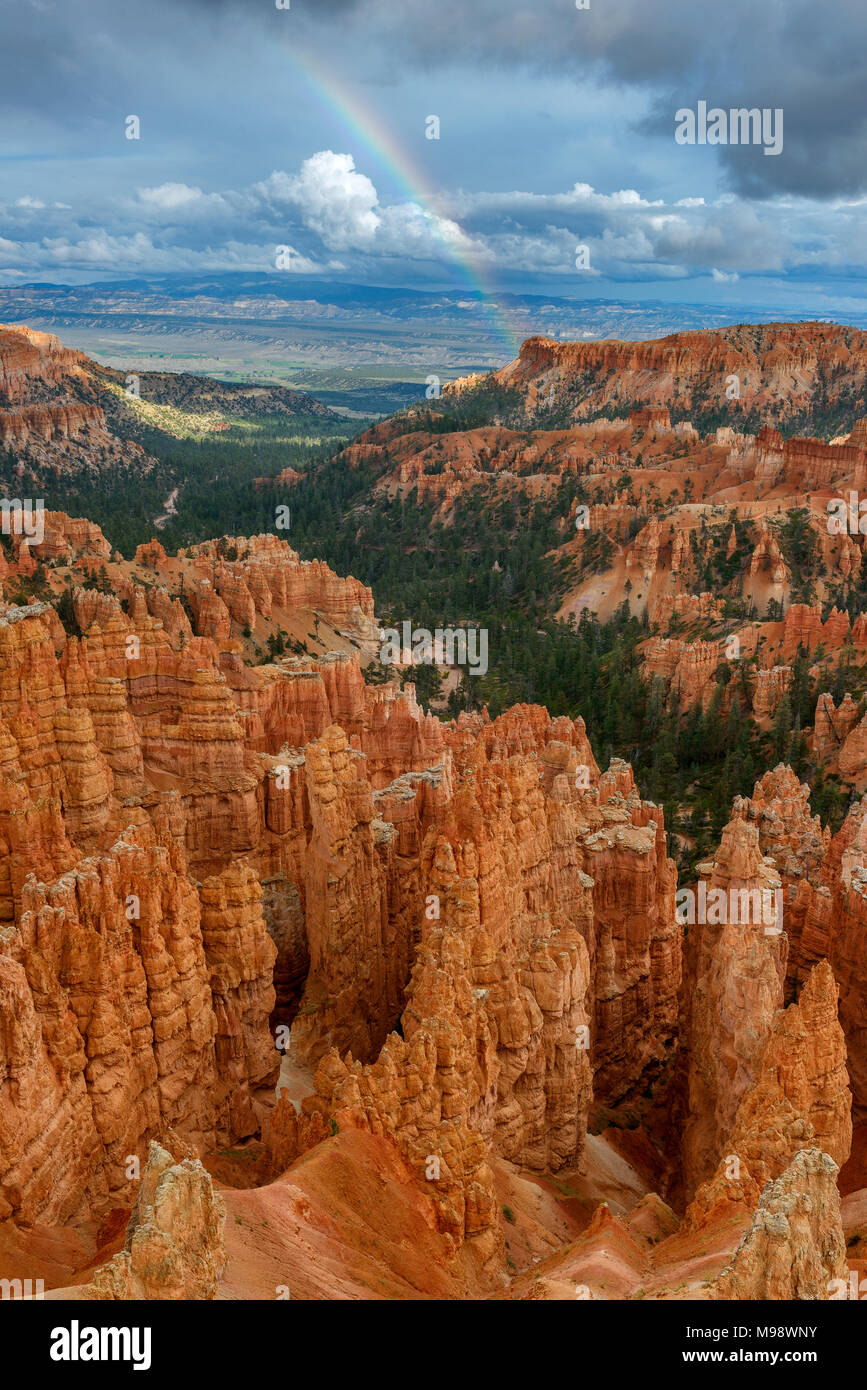 Rainbow, Wall Street, Bryce Canyon National Park, Utah - Stock Image