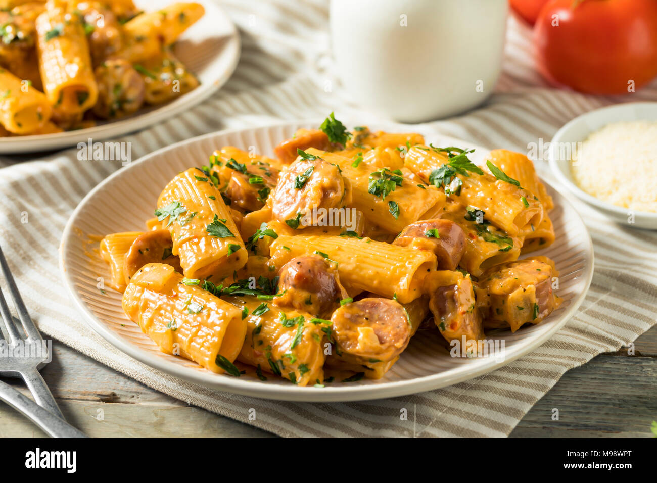 Homemade Sausage and Fennel Rigatoni with Cream Sauce - Stock Image