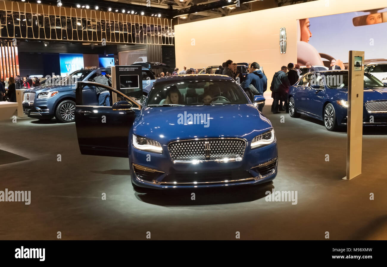 Toronto, Canada - 2018-02-19: Lincoln MKZ sedan displayed on the Lincoln Motor Company exposition on 2018 Canadian International AutoShow - Stock Image