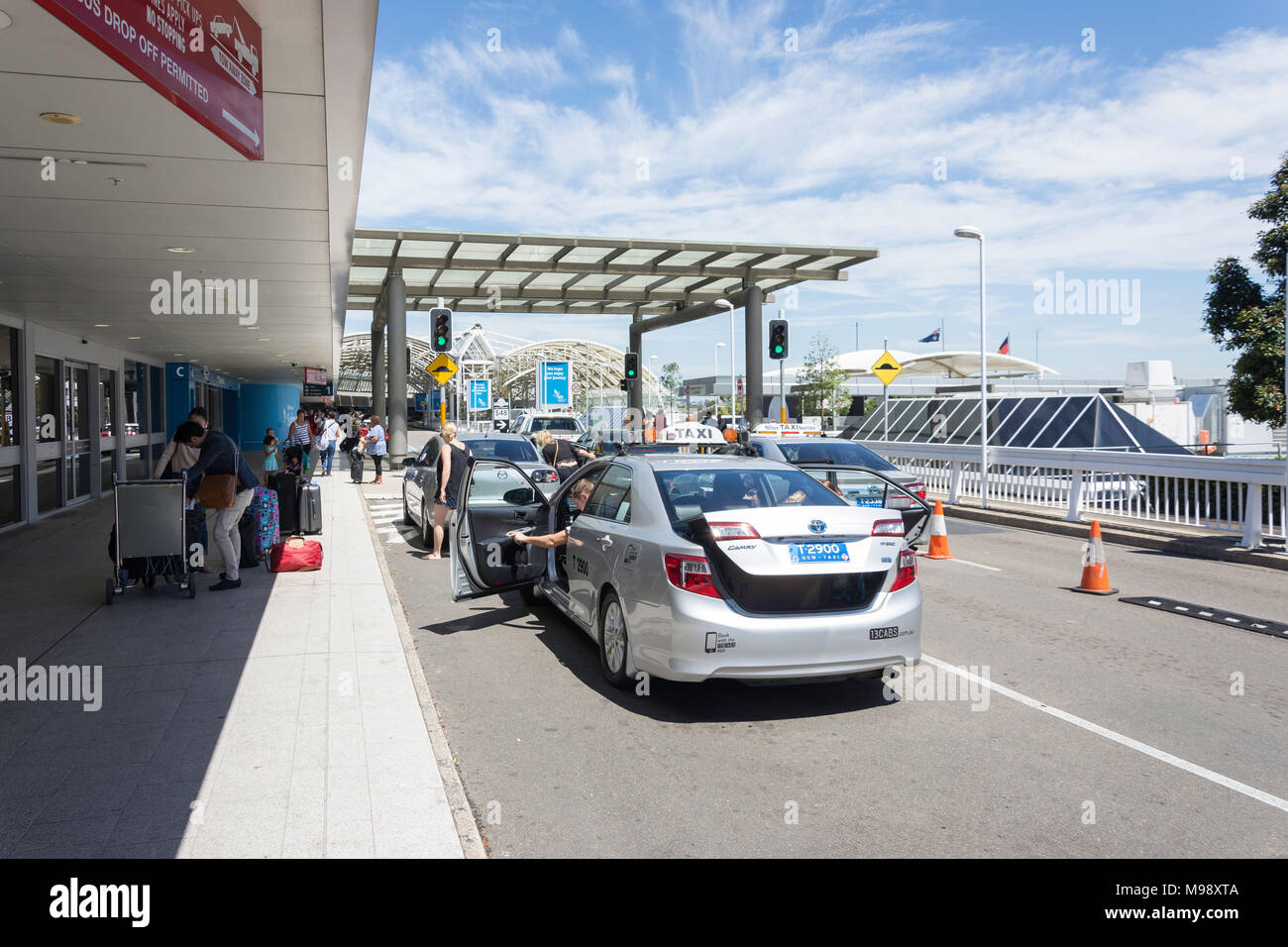 Departure level at Sydney Kingsford Smith Airport, Mascot, Sydney, New South Wales, Australia - Stock Image