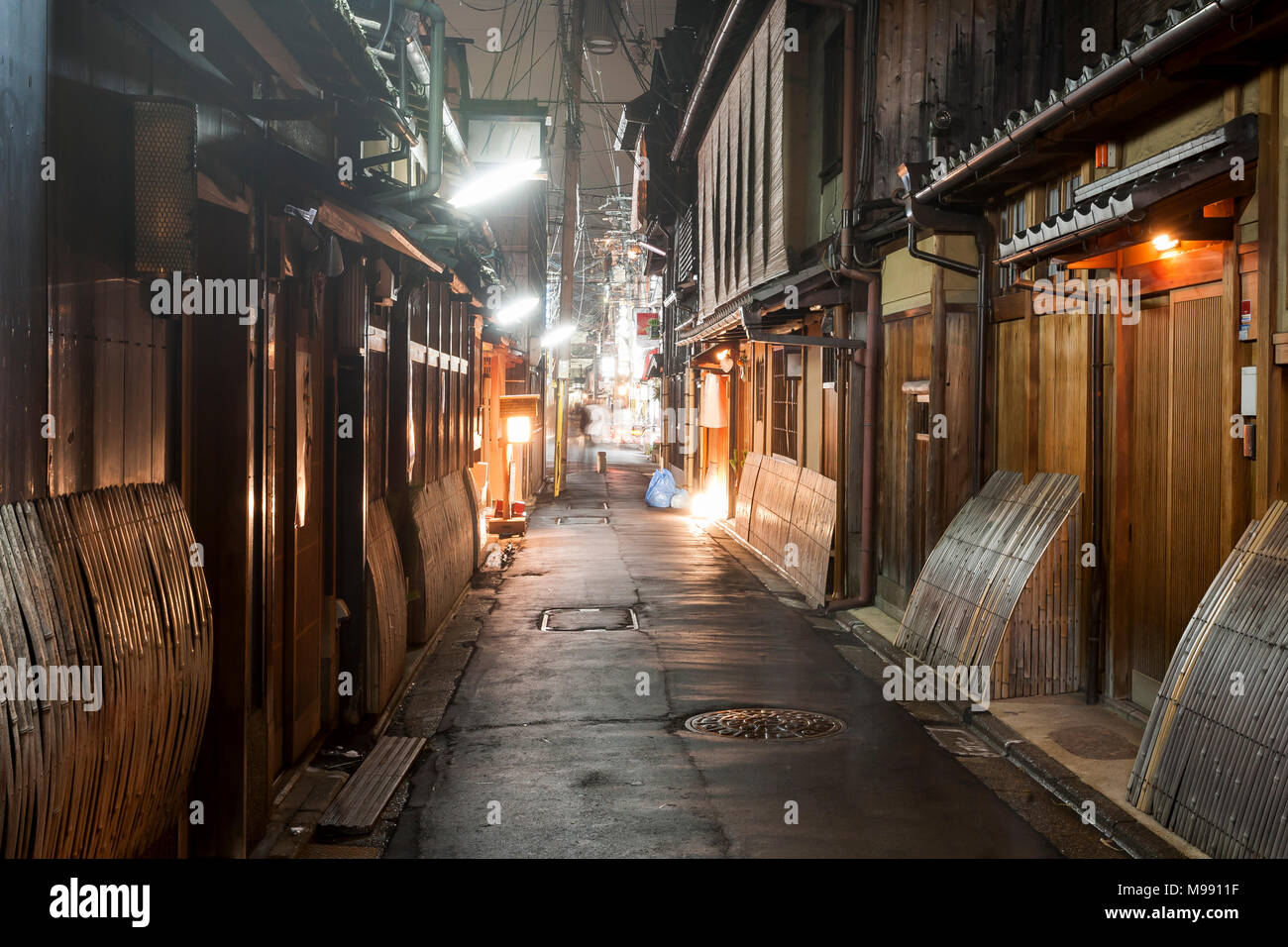 Gion the old ancient center of Kyoto at night, Japan - Stock Image