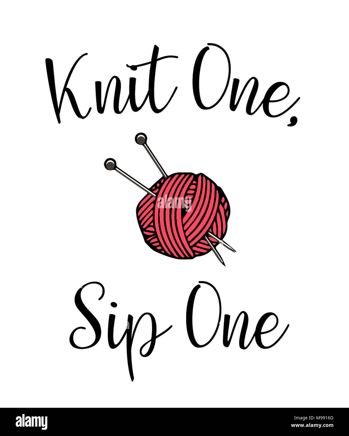 Knit One, Sip One - Stock Image