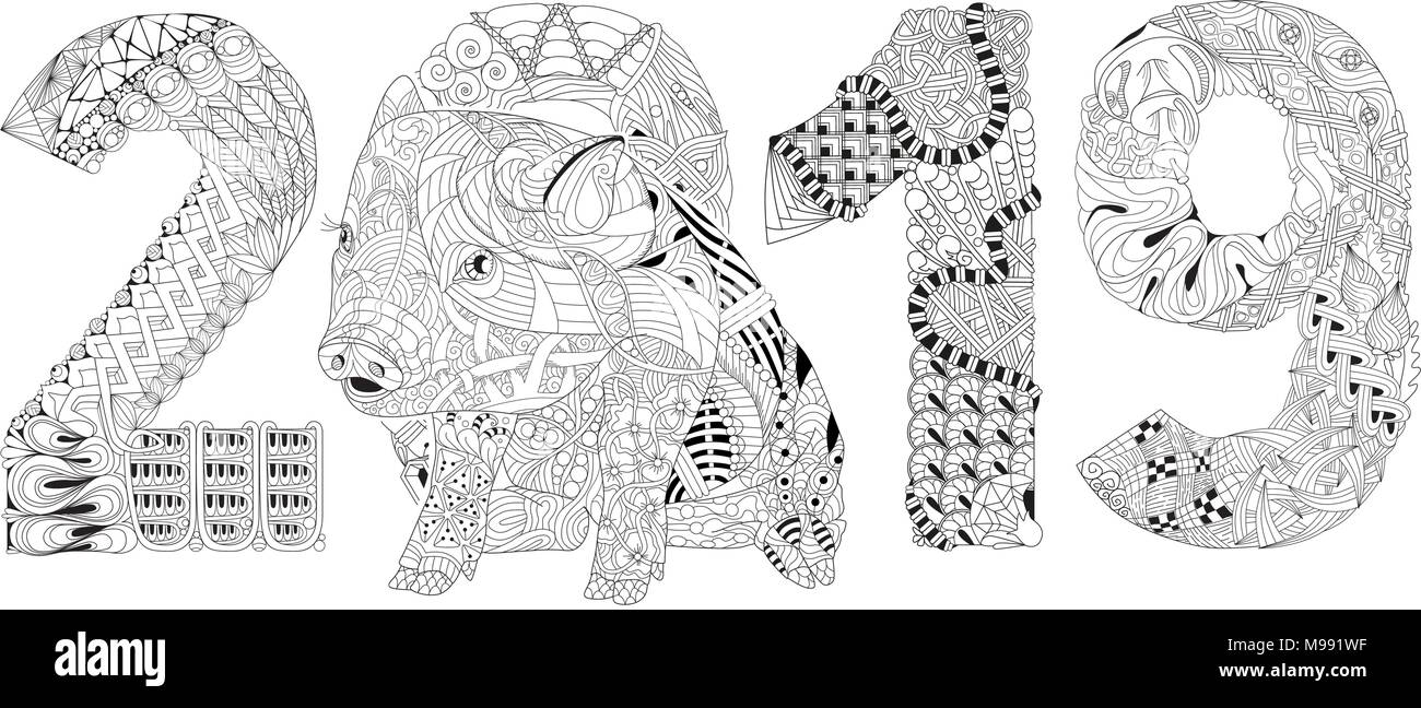 Zentangle Illustration With Pig And Number 2019 Zentangle Or Doodle