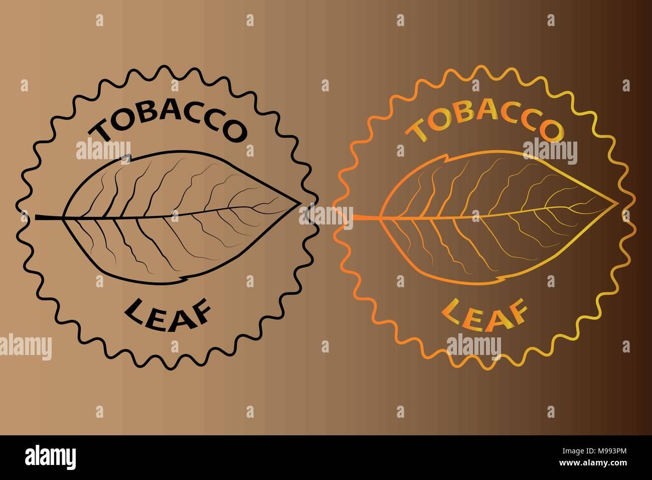 tobacco leaf sticker - vector illustration - Stock Vector