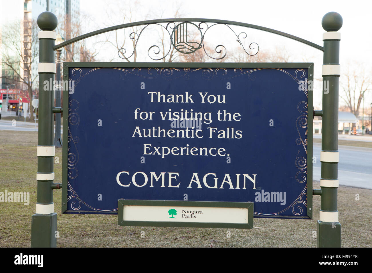 'thank you for visiting the authentic falls experience' message board by Niagara Parks administration - Stock Image