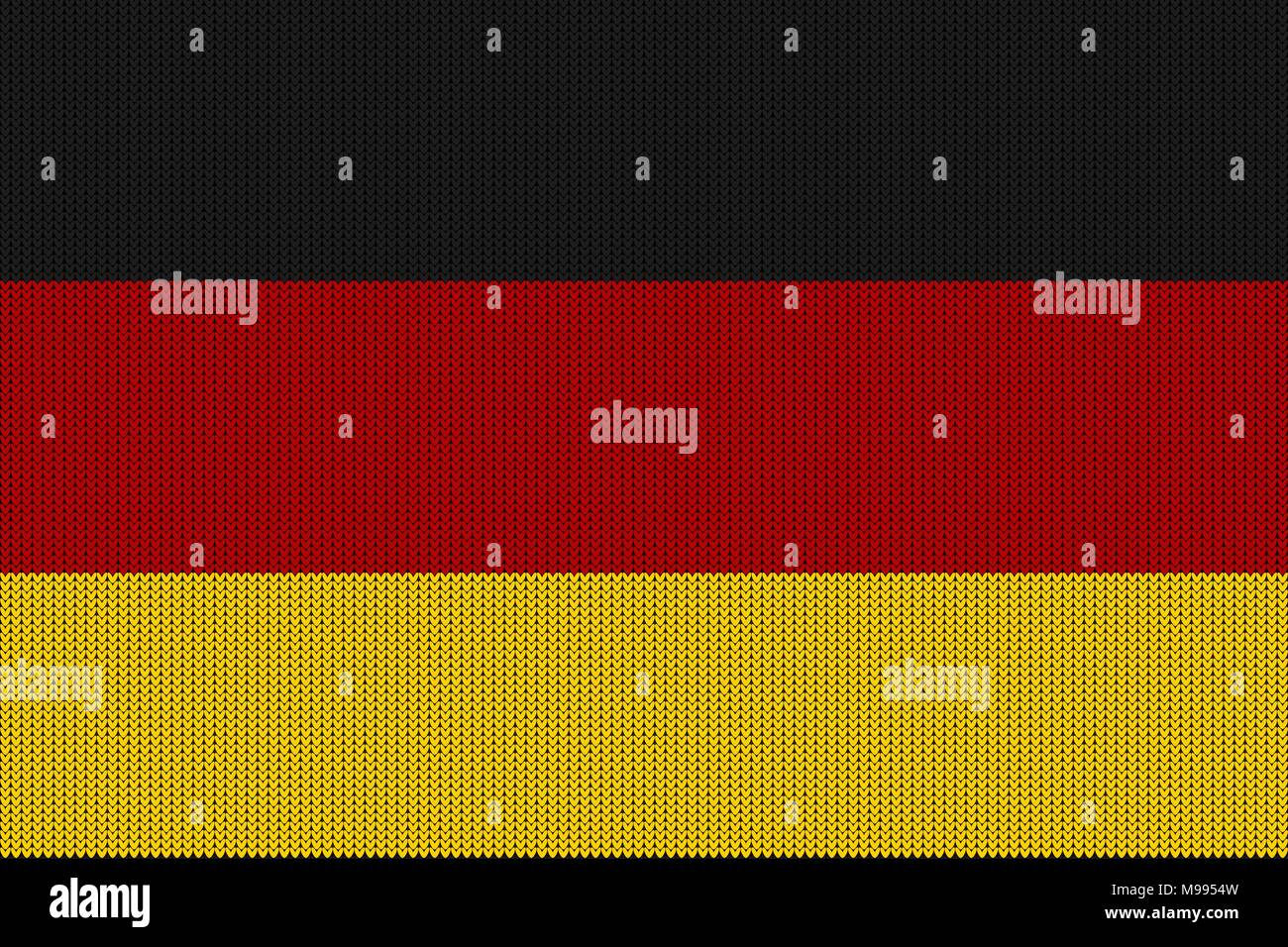 Flag of Germany on a vector knitted woolen texture. A knitted German flag creates a seamless pattern - Stock Image