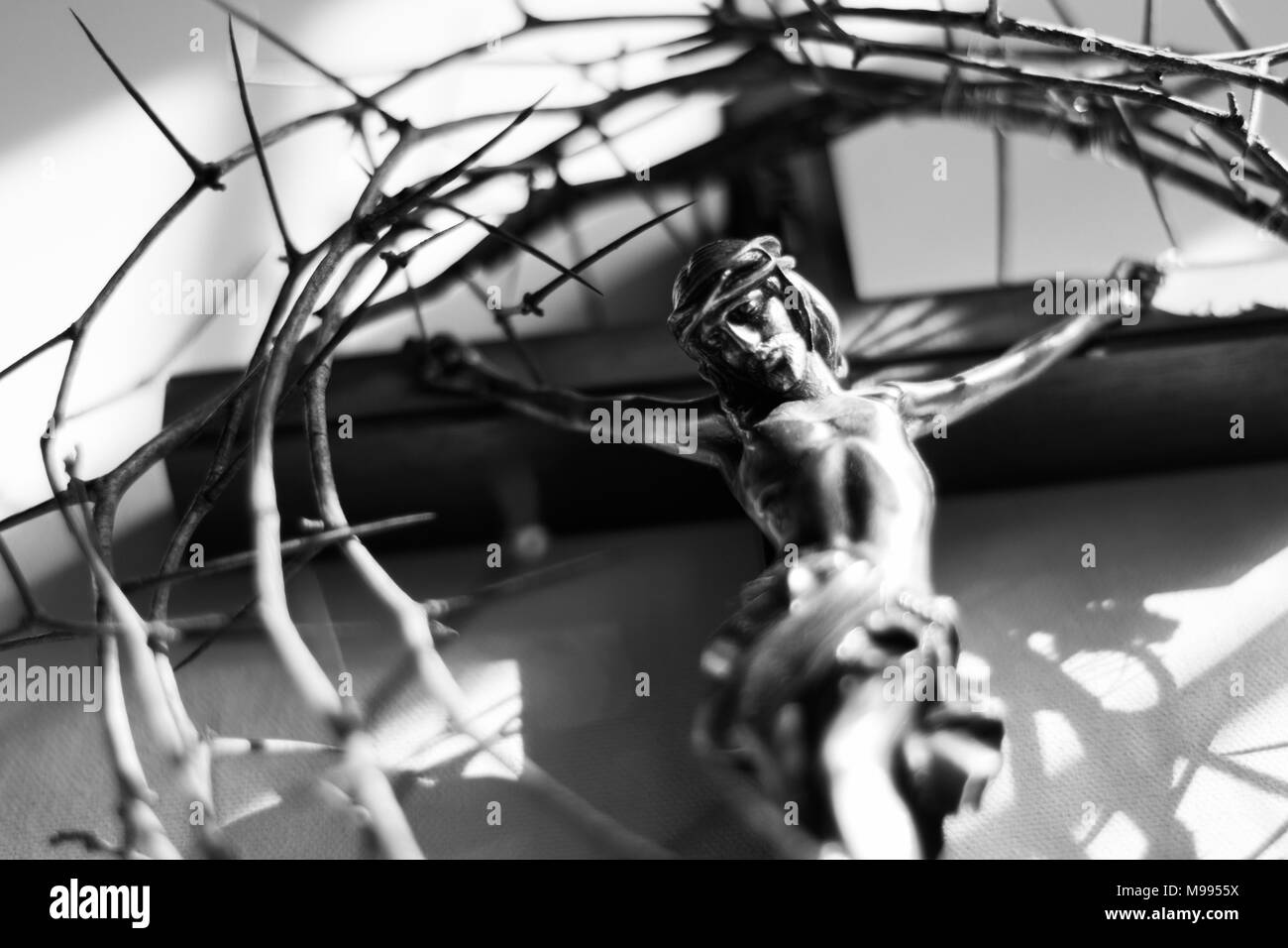Crown Of Thorns And Crucifix In Dramatic Lighting