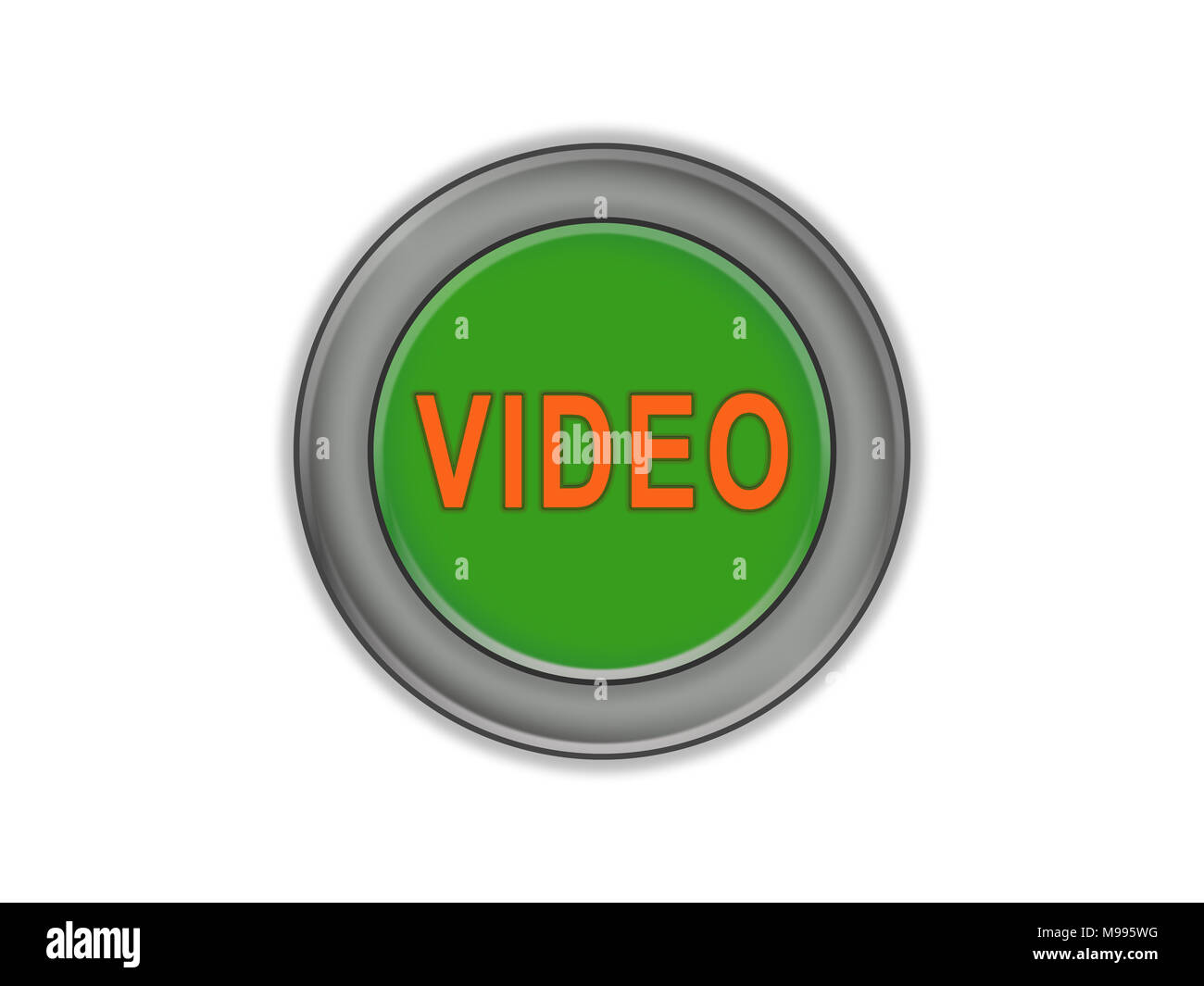 The inscription on the green VIDEO button, volume, white background - Stock Image