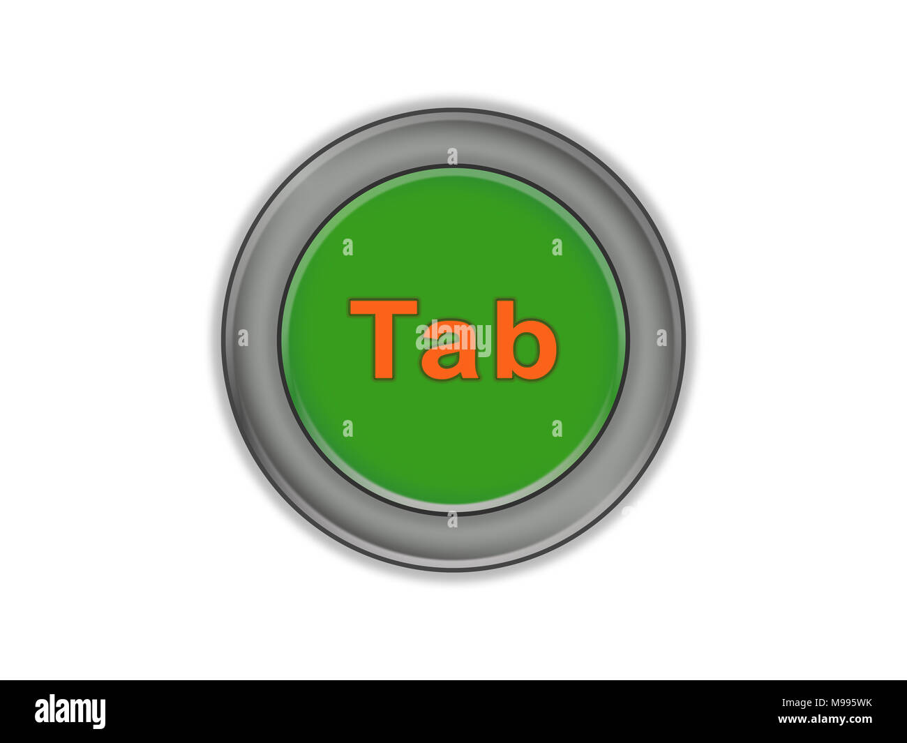 The Tab inscription is on a green volume button, white background - Stock Image