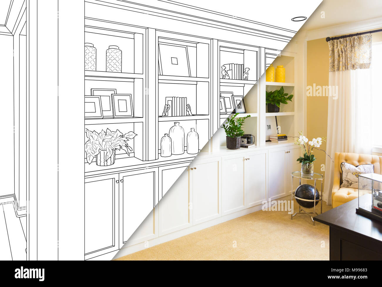 Custom Built In Shelves And Cabinets Design Drawing With