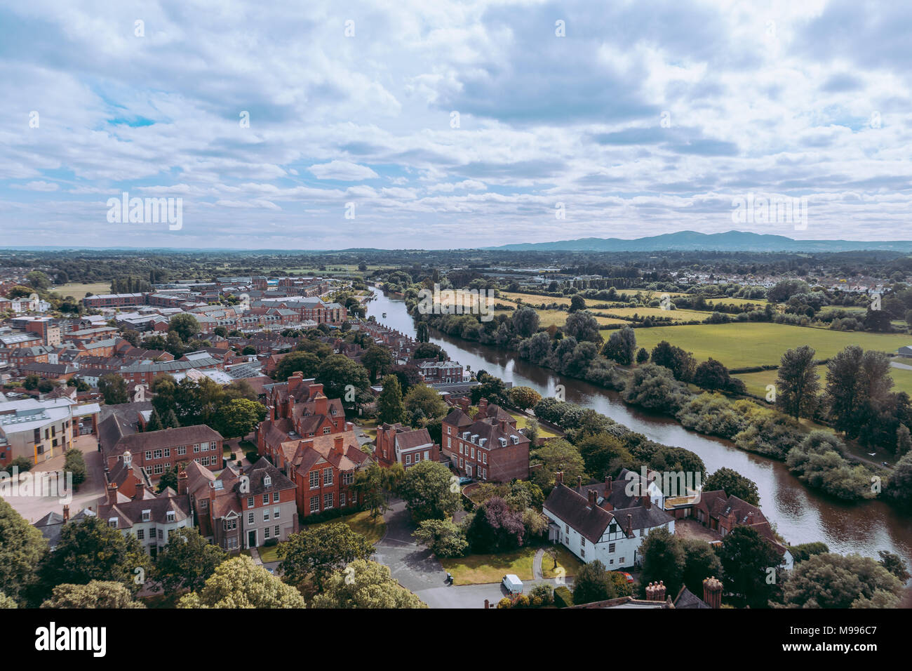 View of the King's School Worcester & River Severn, UK. From Worcester Cathedral. - Stock Image