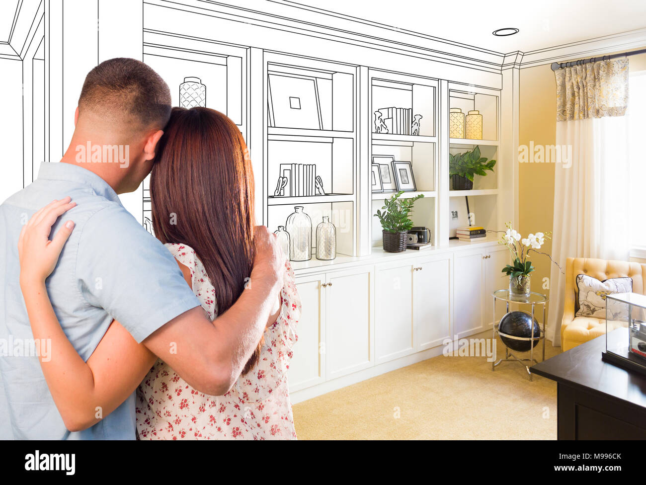 Young Military Couple Facing Custom Built In Shelves And