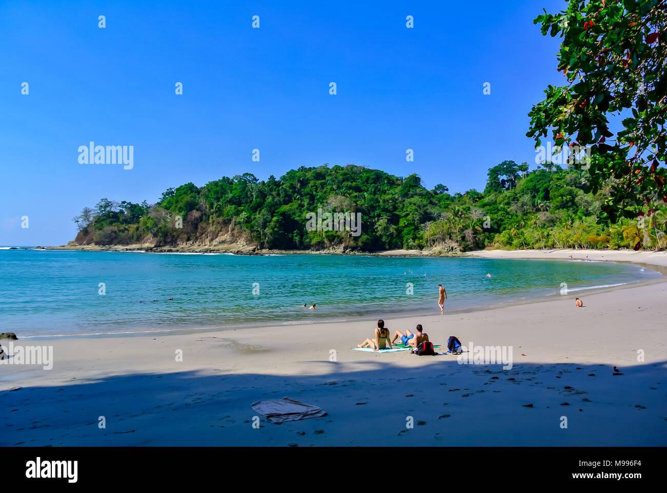 people on beach, Manuel Antonio National Park, Costa Rica, Central America Stock Photo