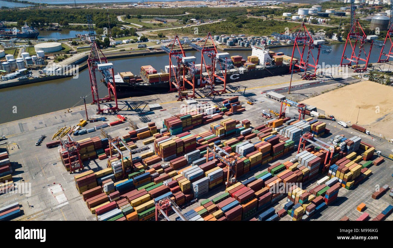 Exolgan Container Terminal, Dock Sud, Buenos Aires, Argentina - Stock Image
