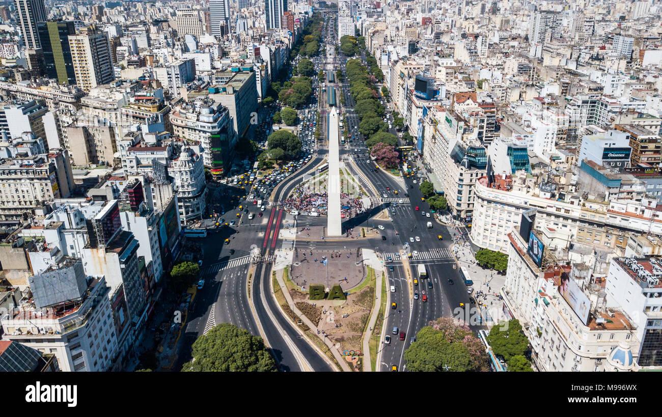 Obelisco de Buenos Aires or Obelisk of Buenos Aires, Buenos Aires, Argentina - Stock Image