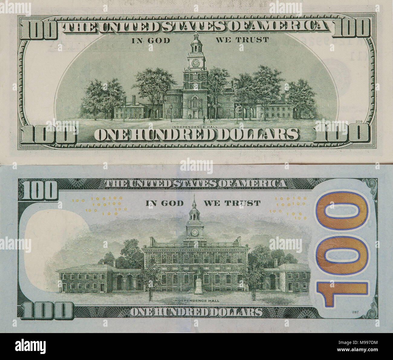 Old and new 100-dollar bills and banknotes, the back side. - Stock Image