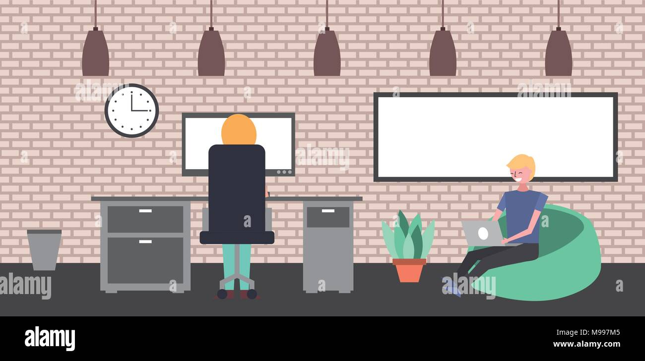people workspace interior - Stock Vector